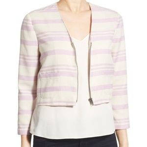 CUPCAKES AND CASHMERE cropped stripe jacket blazer